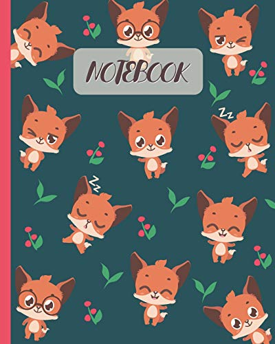 Notebook: Cute Foxes Cartoon Cover - Lined Notebook, Diary, Track, Log & Journal - Gift for Boys Girls Teen Men Women Who love Red Fox (8'x10' 120 Pages)