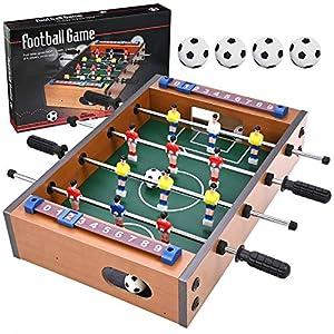 GOLDGE Futbolín de mesa, futbolín multijuego, futbolín para niños y adultos, con 4 balones de fútbol, 34,5 x 23 x 8 cm, madera, multicolor