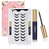 Magnetic Eyelashes with Eyeliner, No-Glue Natural Lashes Kit with Tweezers, 10-Pairs Reusable and Natural Falling Mink Magnetic Eyelashes Kit with 2 Tubes of Magnetic Eyeliner