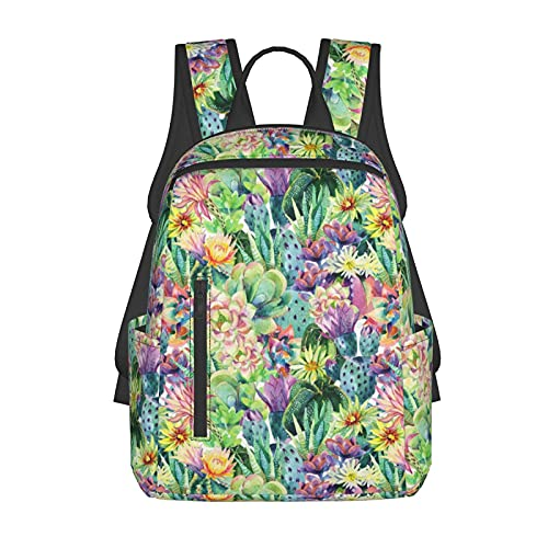 NiYoung School Shoulder Book Bags, Large Capacity Rucksacks for Sports Outdoors Walking Cycling, Wilder California Prickly Pear Cactus Flowers Floral Camping Outdoor Backpack for Men Women Kids
