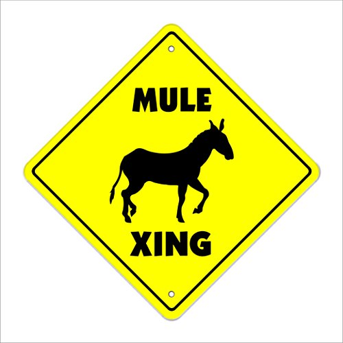 "Mule Crossing Sign Zone Xing | Indoor/Outdoor | 12"" Tall Plastic Sign animals farm donkey jackass farmer joke funny"