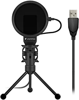 IPOTCH Condenser USB Microphone W/Tripod Stand for Game Chat Studio Recording PC
