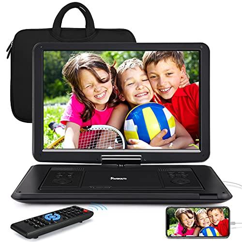 NAVISKAUTO 17,5'' Lecteur DVD Portable Voiture avec Sacoche de Transport Grand Ecran 16 Pouce pour Enfant Supporte HDMI Input,Vidéo Full HD, AV in/Out,Dernière mémoire,Region Libre,USB