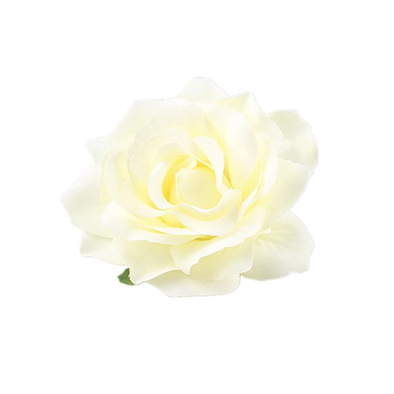 懇願する衣類したがってLurrose 女性の女の子のためのシミュレーションローズヘアクリップ結婚式の花嫁の花のヘアクリップ(クリーミーホワイト)