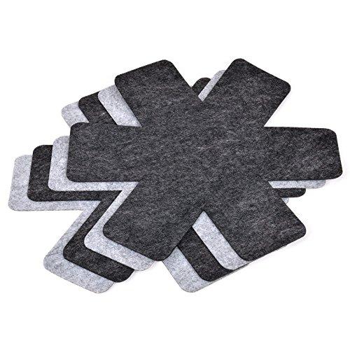 GRÄWE Topf- und Pfannenschutz, 4 Stück, (Ø 38 cm) - Schutzmatte vor Kratzer, Stapelhilfe, Schoner aus Kunst-Filz, geeignet für alle Größen, Schwarz & Grau