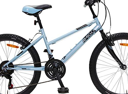 Amigo Power - Mountainbike für Mädchen - 26 Zoll - Shimano 18-Gang - geeignet ab 150 cm - mit Handbremse und fahrradständer - Blau