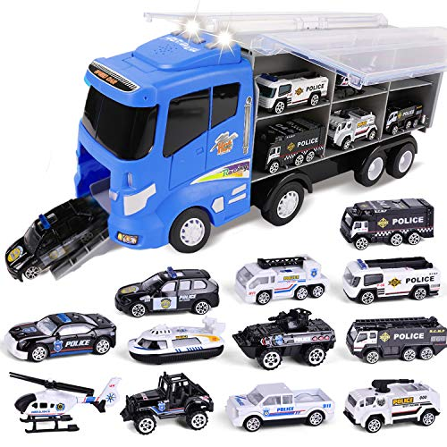 FUN LITTLE TOYS 12 in 1 Die-cast Police Car Toy, Police Transport Car Carrier Toy for Boys & Kids, 16' Truck Toy with Police Cars Playsets