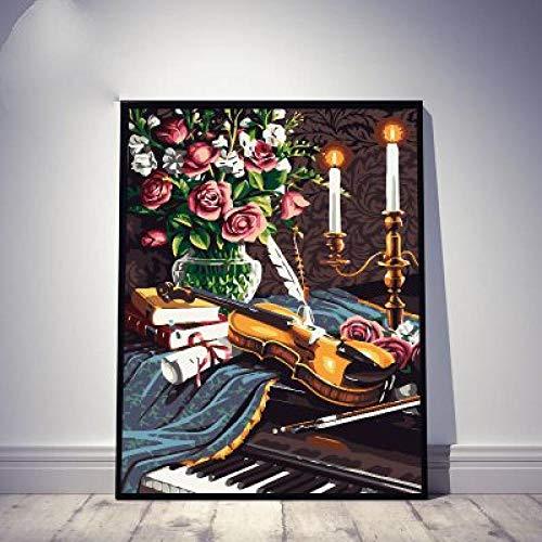 Muziekinstrument Fiddle Gitaar Piano Trompet Saxofoon Muziek Landschap Stilleven Ophangen Schilderen Digitale Schilderij DIY Vul Kleur Bloemen Omlijst 40x50cm
