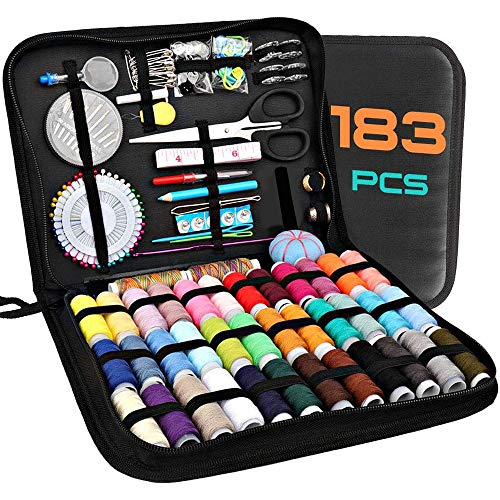 183 Premium Sewing Supplies, Sewing Kits for Adults, Kids, Beginners, Travel, Emergency, DIY and Home, AKARUED sewing machine Supplies Including Professional Sewing Accessories, 38 XL Threads, Needles