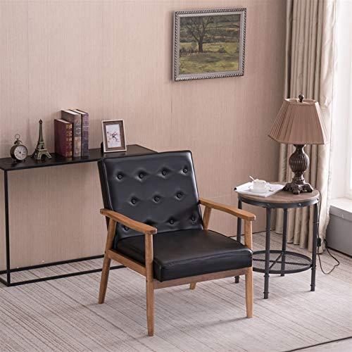 Silla de sofá clásica de madera, cojín de cuero