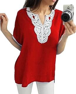 Suncolor8 Womens Lace Stitch T-Shirt Plus Size V-Neck Chiffon Blouse Shirt Top