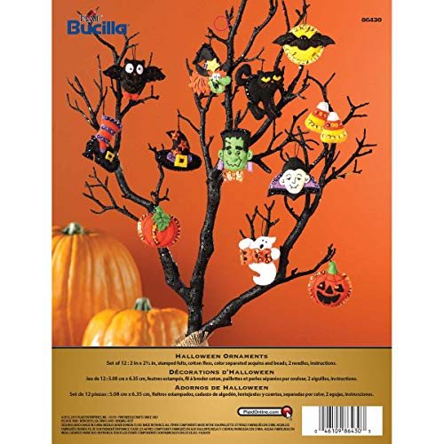 Bucilla Halloween Felt Applique Ornaments Kit (Size 2 2.5-Inch), Set of 12, 6 Count
