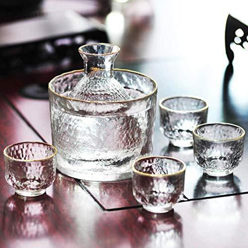 NLT Sake-Flaschen-Set, goldener Rand, für Reiswein, Weißwein, Wärmflasche für Sake, Reis, Wein, 6 Stück