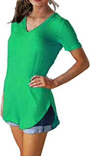 SELILALI Women's Summer V Neck T Shirt Solid Color Casual Loose Tunic Top Short Sleeve Blouse Tee
