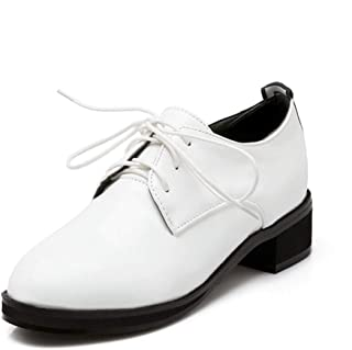 Judy Bacon Women's Classic Loafer Oxford Shoes Lace Up Patent Leather Round Toe Low Heel Dress Oxfords Shoe