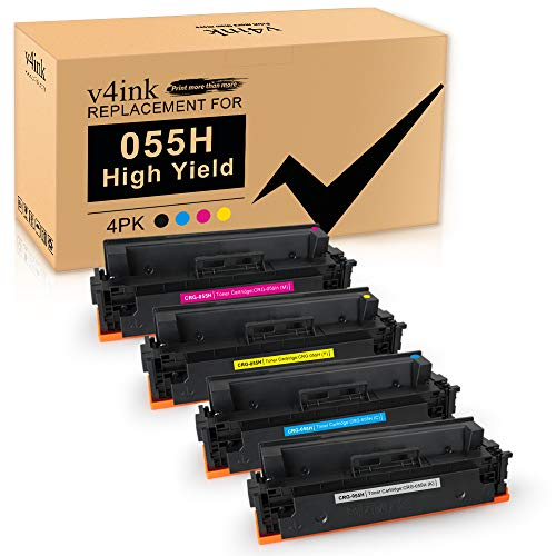 V4ink Compatible Toner Cartridge Replacement for Canon 055 055H CRG-055H Toner High Yield Ink for Canon Color ImageClass MF741Cdw MF743Cdw MF740C MF745Cdw MF746Cdw Printer - Black Cyan Magenta Yellow