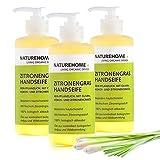 NATUREHOME Bio Handseife Zitronengras 3er Set - Natürliche Vegane Handseifen im Spender Naturseife...