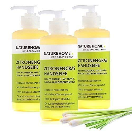 NATUREHOME Bio Handseife Zitronengras 3er Set - Natürliche Vegane Handseifen im Spender Naturseife Flüssigseife Zitrone Naturkosmetik Set 3 Seifen mit je 300 ml