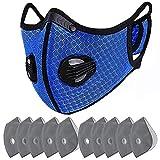 マスク バルブ付きマスク スポーツマスク PM2.5 活性炭フィルター 5層マスク 通気性 防風マスク (ブルー)