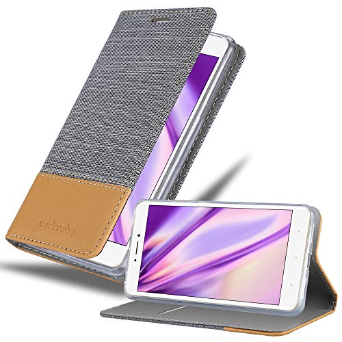 Cadorabo Hülle für Xiaomi Mi MAX 2 - Hülle in HELL GRAU BRAUN – Handyhülle mit Standfunktion & Kartenfach im Stoff Design - Hülle Cover Schutzhülle Etui Tasche Book