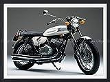 絵画風 壁紙ポスター (はがせるシール式) カワサキ 500SS 初期型H1 マッハⅢ 1969年 伝説のバイク 【額縁印刷/トリックアート】 キャラクロ K5SS-001SGF1 (784mm×585mm) 建築用壁紙+耐候性塗料