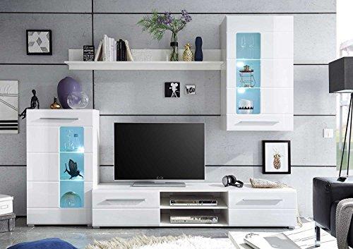 Wohnwand –  Weiße, moderne Wohnzimmer Anbauwand kaufen  Bild 1*