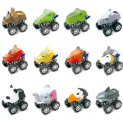 CUHAWUDBA 12 Bilder Mode Spielzeug Für Kinder Jungen M?dchen Tier Reibung Angetrieben Auto Zurückziehen Fahrzeug Tier Auto Spielzeug Für Geschenke Kinder