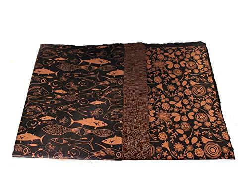 Maharanis Handgeschöpftes Papier Lokta Daphne Papier zum Verpacken, Basteln und mehr 3er Set schwarz-gold rosé