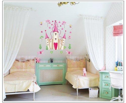 Pegatinas de pared grandes con diseño de castillo de hadas de princesas
