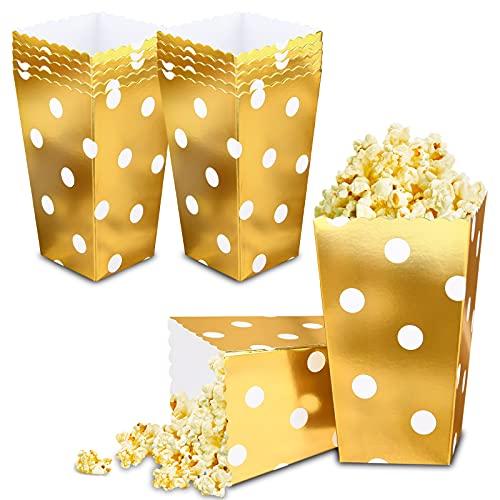 VAINECHAY 12PCS Cajas de palomitas Carton Maíz Caja Papel Pequeña Dulces Papas Fritas Fiesta Cumpleaños para Niños Caja Regalo Comida Bocadillos Titulares Contenedor Onda Dorada Oro Olas