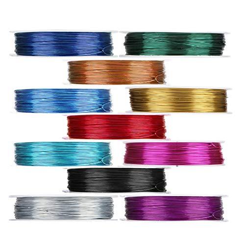 Viesap 11 Colori Filo di Rame Metallico Accessori Artigianali per Gioielli Design di Gioielli, 0.4/0.5mm Filo di Alluminio Multicolore Filo per Braccialetti Collane Orecchini Bigiotteria Mestiere.