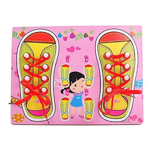 FOONEE - Puzzle de Madera con Cordones, para Aprender a Atar Tus Zapatos, Juegos de Cordones para Aprender temprano, Juguetes educativos para niños y niñas