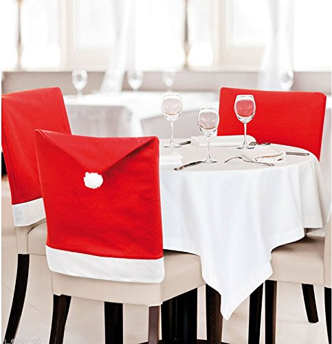 FIVOENDAR Set of 6 Large New Pack Santa Claus Hat Christmas Chair Covers Color (Red) - Fun Decoration in Wedding Parties Enjoy Responsibly & Creative Novelty Gifts