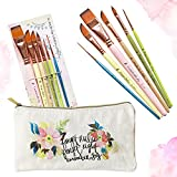 Travel Watercolor Brushes for Artists + Pouch- Set of 6 Watercolor Paint Brushes for Beginners & Pros-Water Color Brushes-Assorted Paint Brushes w/ Watercolor Detail Brush & Watercolor Brushes Dagger