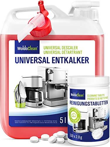 Entkalker 5l und 150x Reinigungstabletten für Kaffeevollautomat - mit allen Kaffeemaschinen kompatibel