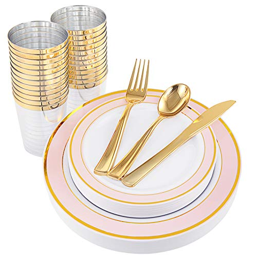 NERVURE 25 Guest Gold Plastic Plates with Gold Silverware,Disposable Cups-Include 25 Dinner Plates, 25 Dessert Plates, 25 Forks, 25 Knives, 25 Spoons & 10 oz Plastic Cups (Pink)