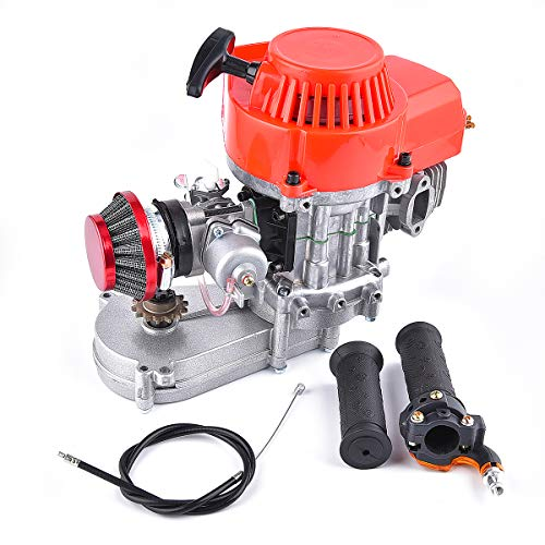 Engine 49CC + Handle Bar + Throttle Cable + Air Filter replacement for 2 Stroke Motor with T8F 14t Gear Box Easy to Start Mini Dirt Bike Engine DIY Engine Pocket Bike Gas G-Scooter ATV Quad Bicycle