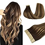 DOORES 20pcs Hair Extensions Tape in Human Hair Balayage Chocolate Brown to Caramel Blonde Remy Silky Straight Hair Extensions Tape in Skin Weft Natural Hair Extensions 50g 20 Inch