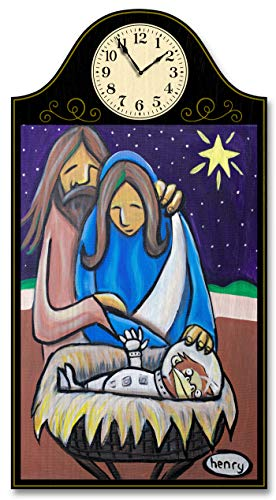 Northwest Art Mall Space Monkey Nativity Wood Wall Clock for Home & Office from Original Painting by Seattle Mural Artist Henry 12' x 18' with 5' Clock Face.