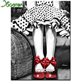 XCxCN 5D-DIY-Diamante Pintura Punto Set Bordado Resina Chica de Blanco y Negro Zapatos de Baile Rojo Cinta de decoración de Regalo Herramienta de Pegado Diamante Cuadrado sin Marco -40x50cm