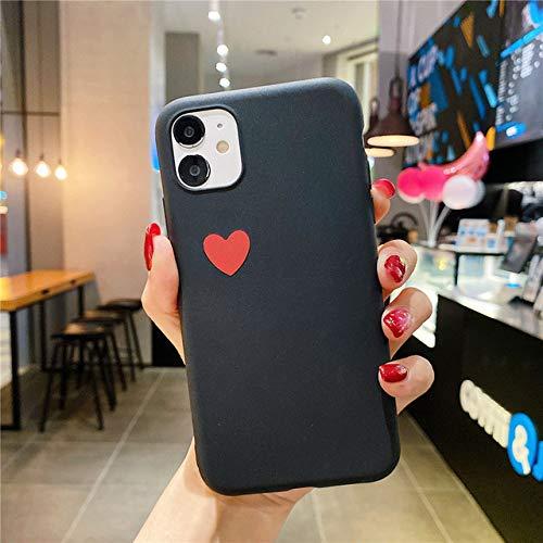 AAA&LIU para iPhone 11 XR Funda para teléfono Love Hear Funda Trasera Simple para iPhone 11 Pro MAX X XS MAX 6 6s 7 8 Plus Funda de Color sólido, Negro, para iPhone 5 5s SE