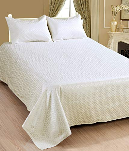 Saral Home Fashions Luxury 3 Piece Classic Abstract Bedspread Set Damask Coverlet Fringe Border Chic Quilt Matching Standard Size Lightweight Luxurious Collection (Full, Ivory)