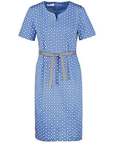 Gerry Weber Damen Kleid Mit Punktedessin Figurumspielend blau/weiß/beige 46