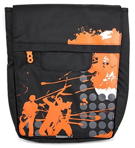 DURAGADGET Bolso Negro con Print En Color Naranja para Tablet Artizlee ATL-31 / Winnovo MiTab Pro