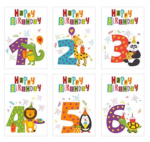 6 schöne Geburtstagskarten für Kinder im Set mit Umschlag. 1 2 3 4 5 6 Jahre