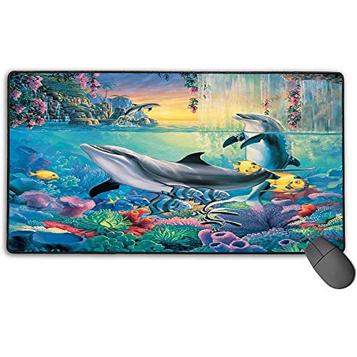 Alfombrilla de ratón Grande XL, Hermoso diseño de Dolphin Bay Alfombrilla de ratón para Juegos extendida Alfombrilla de Escritorio Alfombrilla de Goma Antideslizante con Bordes cosidos