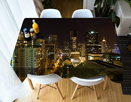 Amody Manteles Rectangulares de Tela, Mantel Picnic Vista Nocturna del Edificio de la Ciudad Manteles Mesa Negro Oro 110x170CM