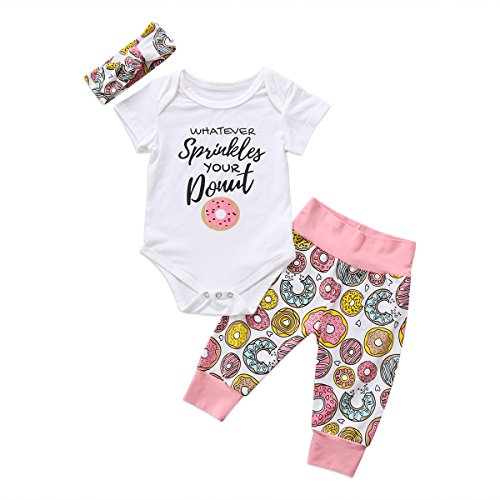 Newborn Baby Girl Floral Clothes Long Pants Outfits Short Sleeve Donuts Romper Bodysuit Headband (0-6 Months, White Floral)