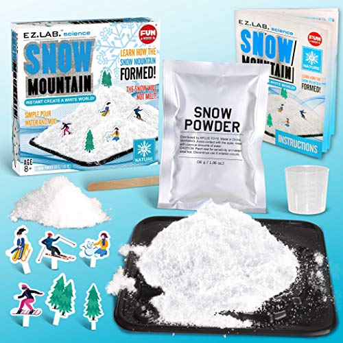 Instant Snow Making Kit FunKidz Snow Mountain Science Kit for Kids Create Your Own White World with Artificial Fake Magic Snow Powder Holiday Decor for Boys and Girls