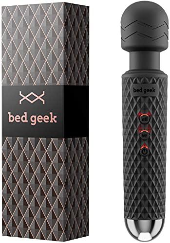Masajeador con Característica de Memoria de bed geek Masaje Eléctrico de Mano Inalámbrico Varita de Silicona Suave 20 Patrones 8 Velocidades (Negro Pack)